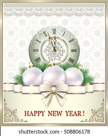 Christmas card with a ball, the clock and ribbon with a bow in a frame with an ornament