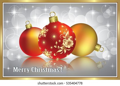 Christmas card with a ball in a frame on gray background in frame
