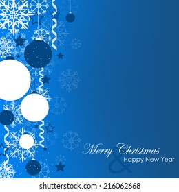 Christmas card with christmas ball, spiral ribbons and snowflakes on a blue background/vector illustration