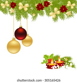 Christmas card with balls and candles. vector illustration.