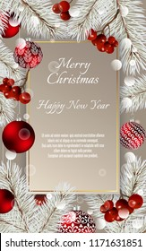 Christmas card with balls and fir branches with space for text. Vector Christmas design for greeting card, party invitation, holiday sales.