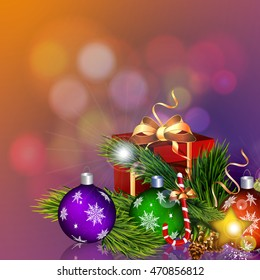 Christmas card with Christmas balls, gift and Christmas tree.