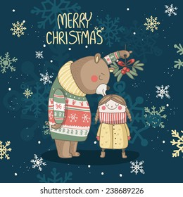 Christmas card with bear who kissing the girl under the mistletoe on it. Happy New Year and Merry Christmas!