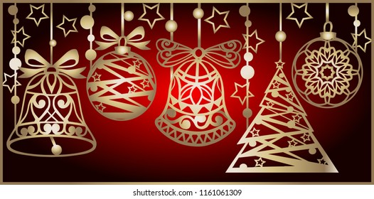 Christmas card with bells for laser cutting. Laser cutting template. Christmas gift for wood carving, paper cutting and christmas decorations. Vector illustration.
