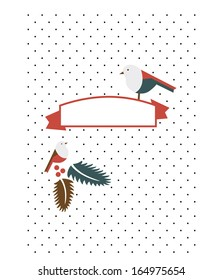 Christmas card with birds and patterns, space to write down your own words.