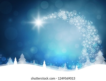 Christmas card with blue color background. vector illustration
