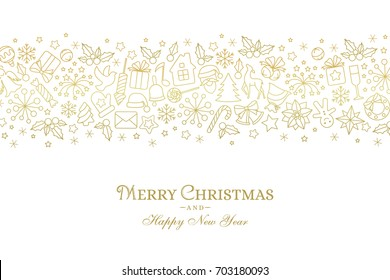 Christmas card with border from line art icons. Holiday white background with linear golden texture and season greetings