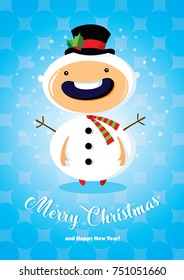 Christmas card with boy in snowman costume