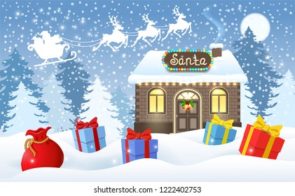 Christmas card with brick house and Santa's workshop and gift boxes against winter forest background and Santa Claus in sleigh with reindeer team flying in the moon sky. New Year design postcard.