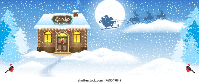 Christmas card with brick house and Santa's workshop against winter forest background and Santa Claus in sleigh with reindeer team flying in the moon sky. New Year design postcard.
