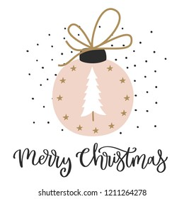 Christmas card with calligraphy for invitation, flyer, planner, sticker, scrapbooking, print, posters,