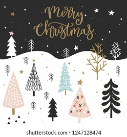 Christmas card with calligraphy for invitation, flyer, planner, sticker, scrapbooking, print, posters