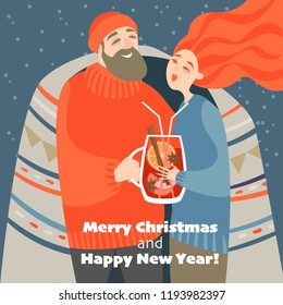 Christmas card in cartoon style. Cute couple drinks mulled wine on a cold winter day.