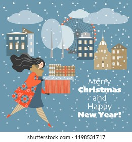 Christmas card in cartoon style. Lovely girl in a hurry with gifts on a cold winter night