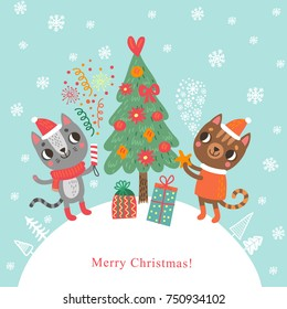 Christmas card with cats. Holidays background