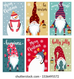 Christmas card collection with snowman and gnomes. Labels. Stickers. Flat design