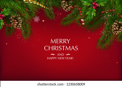 Christmas card with a composition of festive elements such as gold star, berries, decorations for the Christmas tree, pine branches. Merry Christmas and Happy New Year. Vector glitter decoration, gold