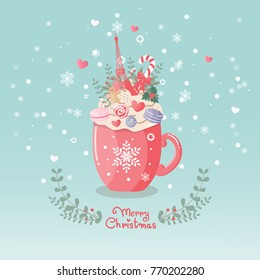 Christmas card with cup of coffee and whipped cream on top, decorate with Eiffel tower, pastel macaroons and flowers. Paris France symbol, snowflakes on blue background. Vector illustration.