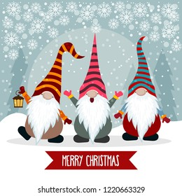 Christmas card with cute gnomes. Flat design. Vector