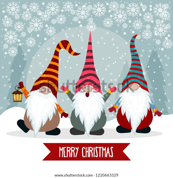 Christmas Card Images Free.Christmas Card Cute Gnomes Flat Design Stock Vector Royalty