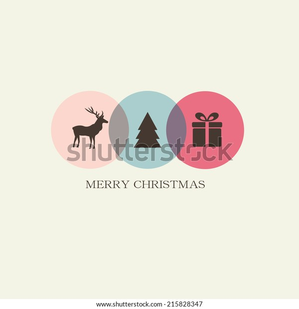 Christmas Card Cute Christmas Icons Deer Stock Vector