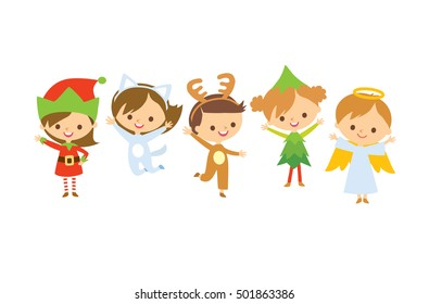 Christmas card with cute kids in costumes