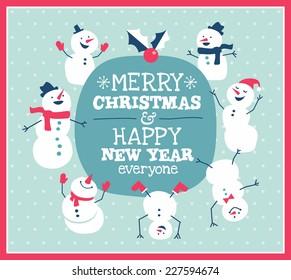 Christmas card with cute little snowman & friends