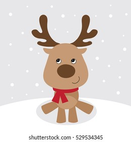 Christmas card with cute reindeer