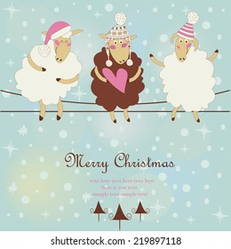 Christmas card with cute sheep in winter hats sitting on wires. Cartoon style.