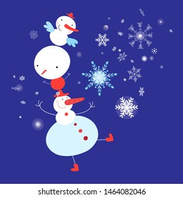 Christmas card of the dancing snowmen on a blue background with snowflakes. An example of a festive New Year's design for a store, web page or poster.