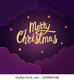 Christmas card with dark purple sky and clouds. Merry Christmas lettering and stars. Vector illustration.