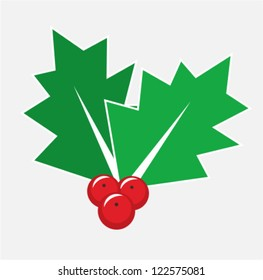 Christmas card decoration - isolated holly berry symbol or icon