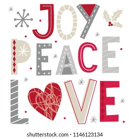 Christmas card with decoration typography joy, peace and love design