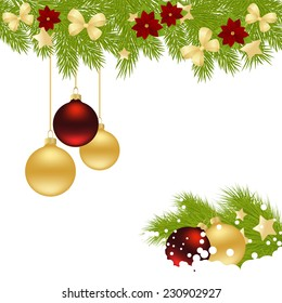 Christmas card with decorations - bows, balls, stars and poinsettia. Vector illustration.