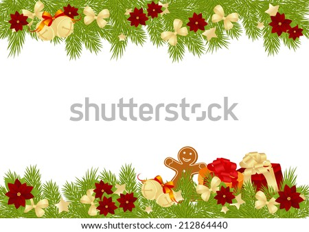 christmas card with decorations bows stars and poinsettia vector illustration