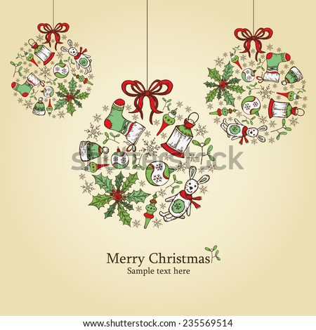 Christmas Card Christmas Decorations Drawing Stock Vector Royalty