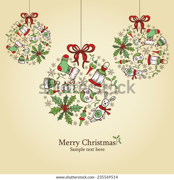 Christmas Card Drawing.Christmas Card Christmas Decorations Drawing Stock Vector