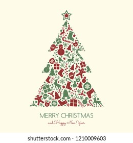 Christmas card with decorative text and ornaments. Vector.