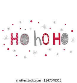 Christmas card with Decorative typography Ho ho ho
