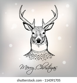 christmas card hand draw images stock photos vectors shutterstock https www shutterstock com image vector christmas card deer 114391705