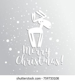 Christmas card with deer Vector holiday background