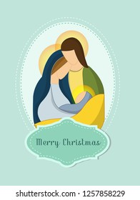 Christmas card design by jesus, minimalist style for decoration etc.