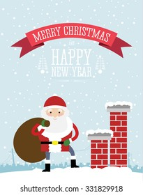 Christmas card design of the happy Santa Claus standing on the top of the house roof with chimneys. Snow falling in the background.