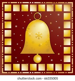christmas card design in red and gold with bell decoration