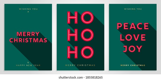 Christmas Card Design Template. Merry Christmas Card Set with 3D Creative Text Typography. Merry Christmas, HO HO HO, Peace Love Joy. Luxury Elegant Modern Minimal Style. Vector Christmas Cards EPS10