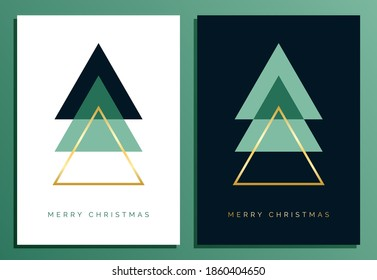 Christmas Card Design Template with Modern Geometric Christmas Tree Illustration. Elegant Luxury Christmas Cards with Merry Christmas Gold Text
