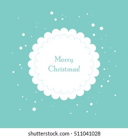 Christmas card dimple design. Vector flat illustration with holiday wishes written. Round Christmas ornament arranged with snowflakes on blue background.