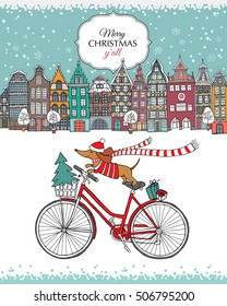 Christmas card. European color Houses and dog Dachshund on the bike in the winter. Vector illustration.