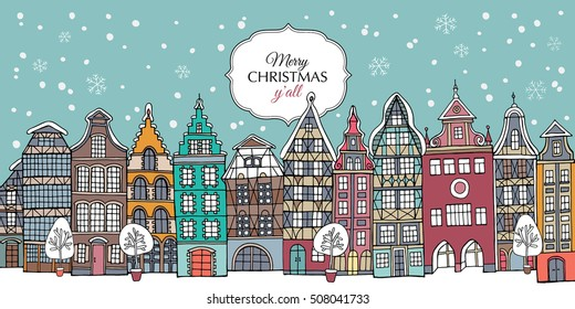Christmas card. European multi-family color Houses in the winter. Vector illustration.