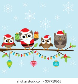 Christmas card with family of cute owls